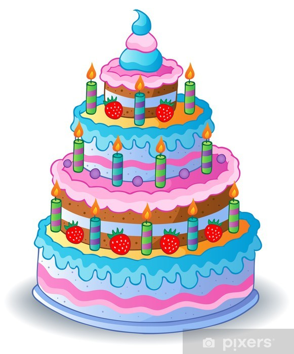 Naklejka Pixerstick Zdobione tort urodzinowy 1 - Świętowanie