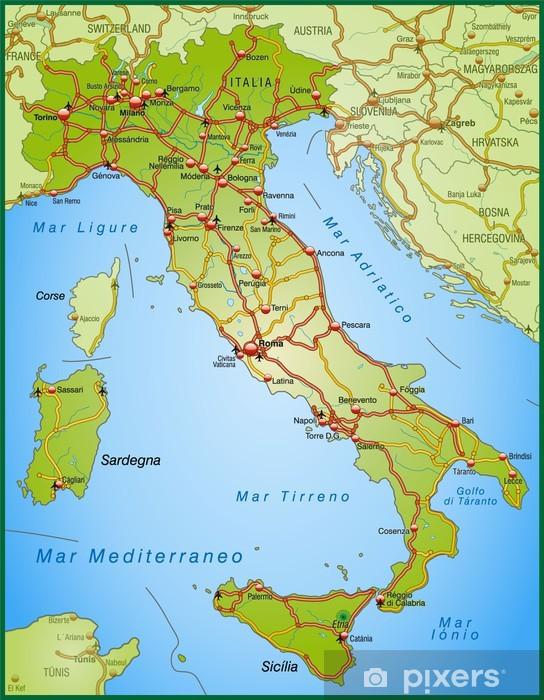 Landkarte Von Italien Mit Autobahnen Wall Mural Pixers We
