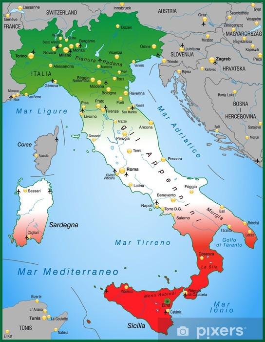 Umgebungskarte Von Italien Mit Landesfarben Wall Mural Pixers