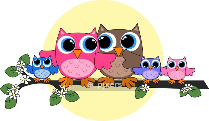 owl family Wall Decal - Kids room