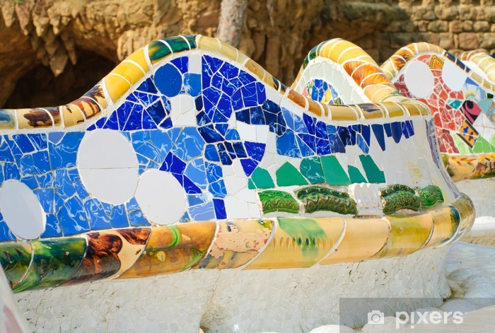 Carta Da Parati Panchina Mosaico In Park Guell Barcellona