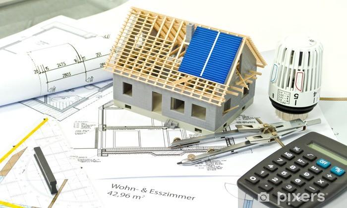 Papier peint vinyle Modèle de maison avec le modèle, compas, rapporteur et calculatrice - Industrie lourde