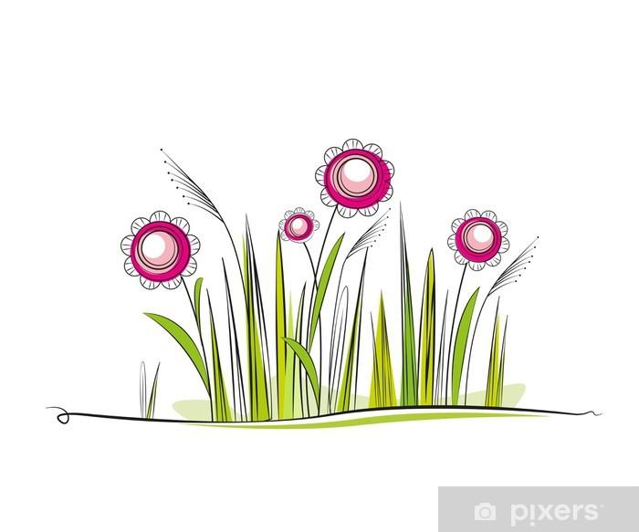 Plakat Trawiasta łąka z kwiatami, miejsce na tekst - Pory roku