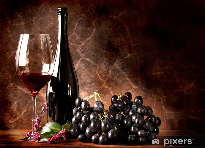 Papier peint vinyle Vino rosso con grappolo di uva nera - Thèmes