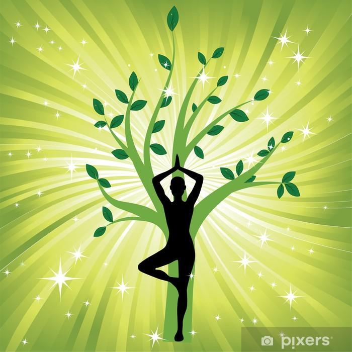 Naklejka Pixerstick Kobieta asany jogi w drzewo - Zdrowie