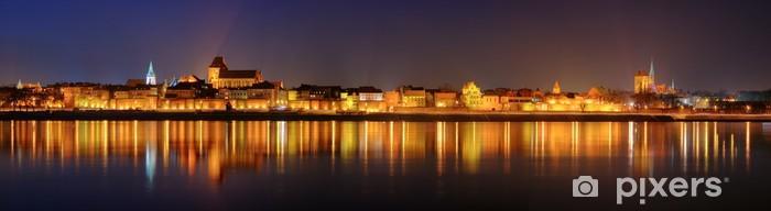 Fototapeta winylowa Nocna panorama w Toruniu - Tematy