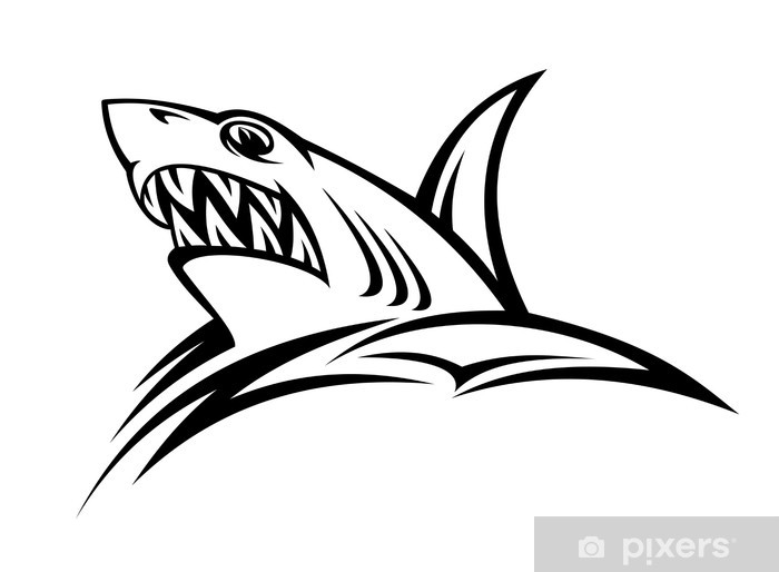 Wall Mural Vinyl Danger Shark Tattoo