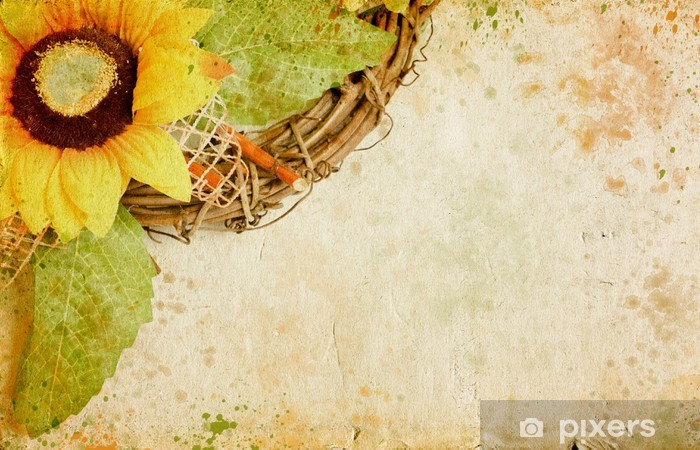 Grunge retro background with sunflowers and copy space Vinyl Wall Mural - Art and Creation