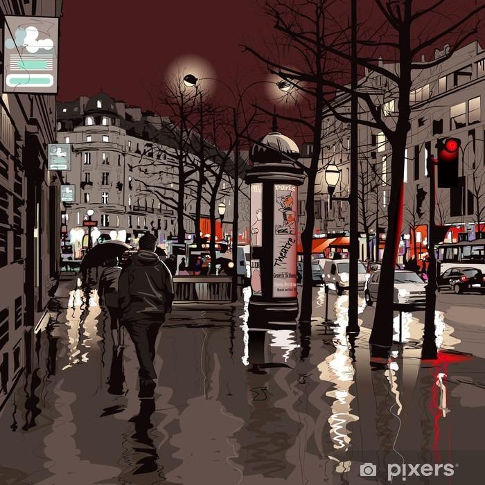 Papier peint vinyle Paris la nuit - Thèmes