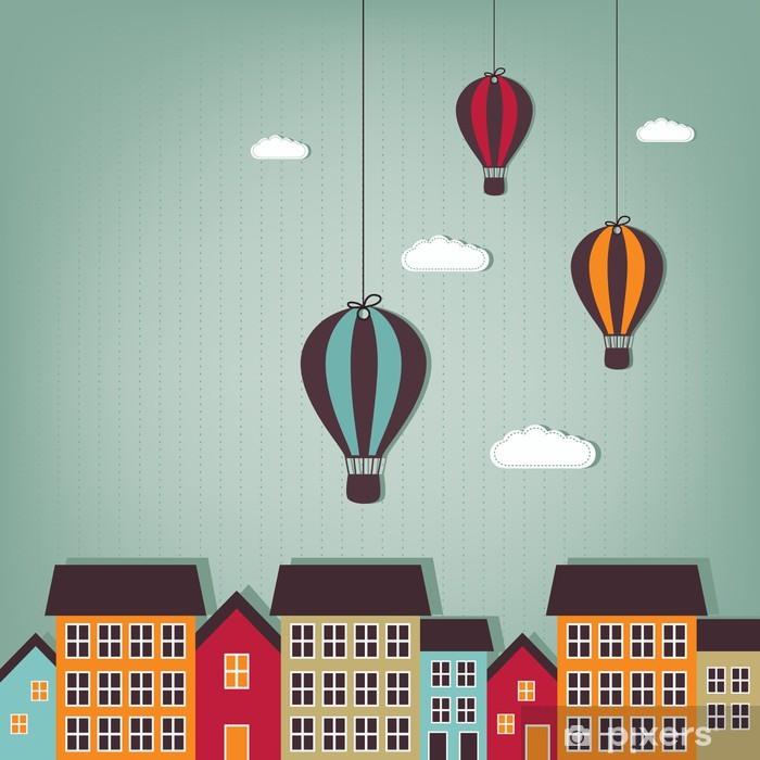 hot air balloons flying over town Pixerstick Sticker - Destinations