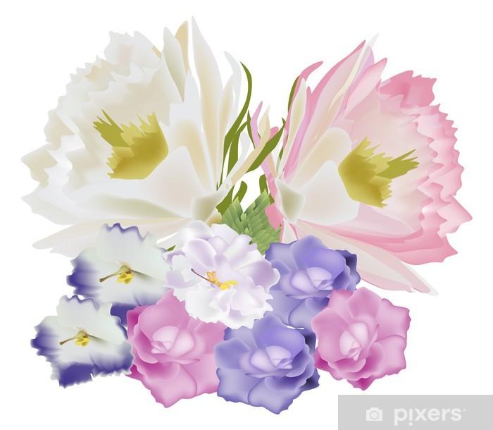 Mazzo Di Fiori Blu.Carta Da Parati Mazzo Di Fiori Blu E Rosa Chiaro Pixers