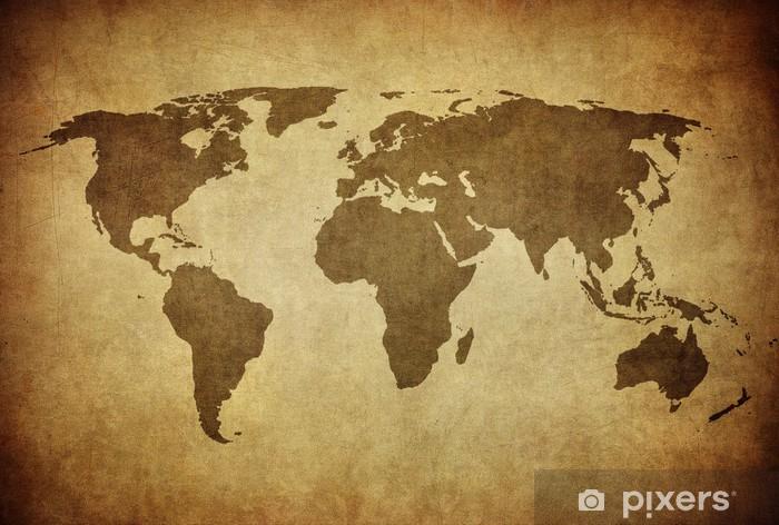 Koc pluszowy Vintage, mapa świata - Tematy