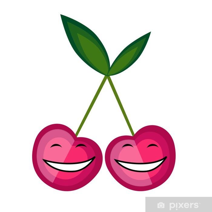 Papier peint vinyle Fruits drôles souriant ensemble pour votre conception - Fruits