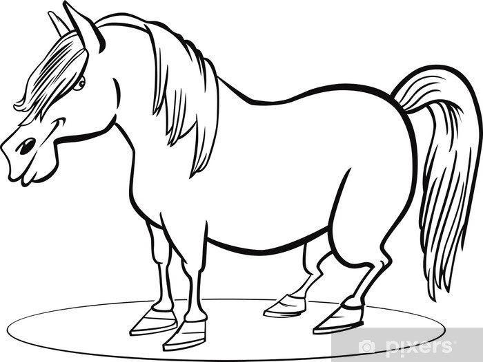Paarden Kleurplaten Is Mijn Pony.Sticker Cartoon Pony Paard Kleurplaat Pixerstick