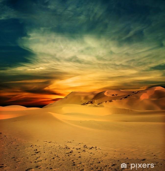 Pixerstick Sticker Zanderige woestijn bij zonsondergang tijd - Thema's