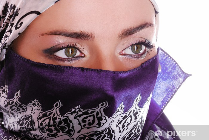 Beautiful Eastern girl with veil on face Vinyl Wall Mural - Religion
