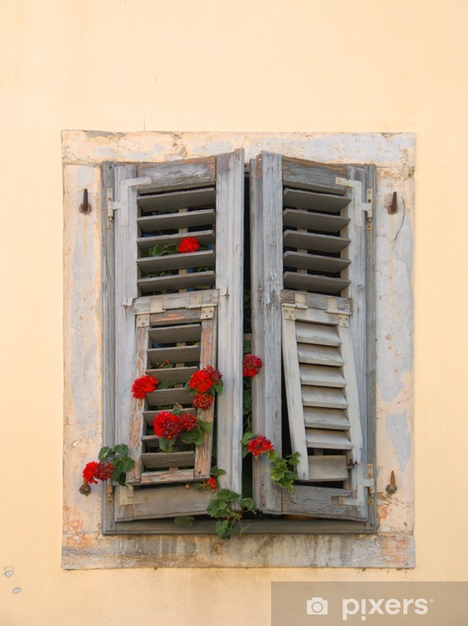Fototapete Sehr Alte Fenster Mit Geranien Wachsen Durch Die