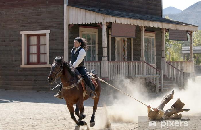 Naklejka Pixerstick Sheriff przeciągnie Bandit przez liny w Mini Hollywood - Europa