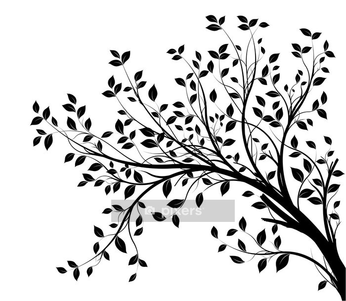 tree branches silhouette isolated white background Wall Decal -
