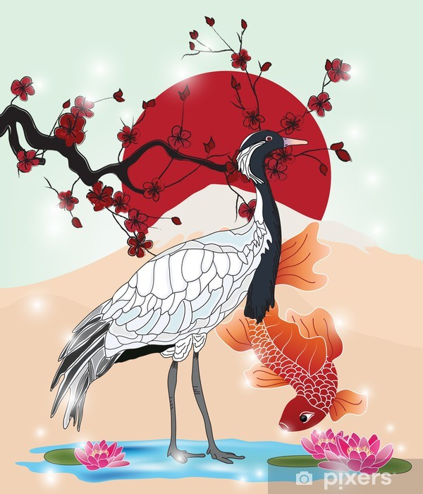 oriental picture with crane and koi Pixerstick Sticker - Themes