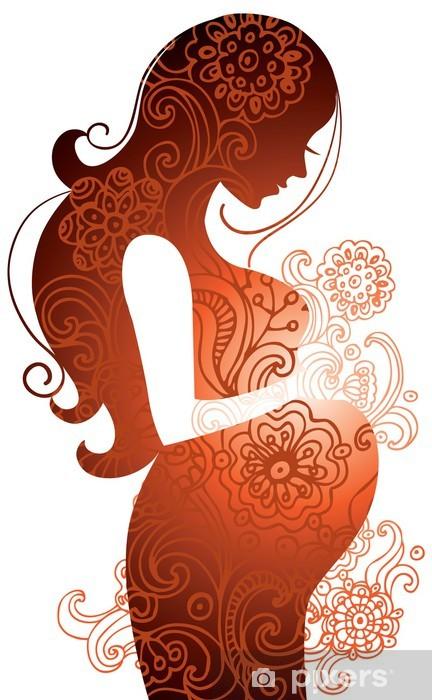 Papier peint vinyle Silhouette de femme enceinte - Vie de famille