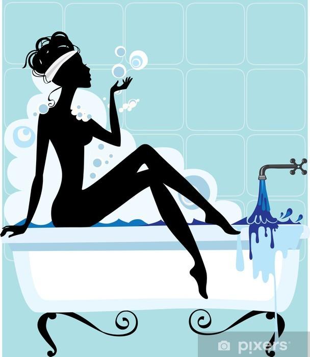 silhouette of a woman in a bathtub Pixerstick Sticker -