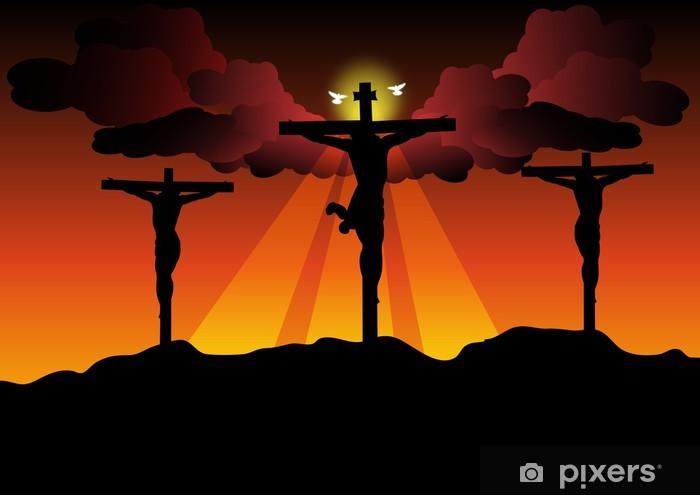 Vinyl Fotobehang Jezus Christus gekruisigd - Pasen