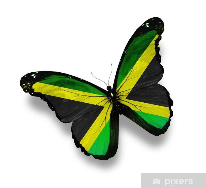 Jamaican Shower Curtain Butterflies with Flag Print for Bathroom