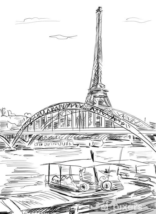 Nálepka Pixerstick Eiffel Tower, Paris, ilustrace - Evropa