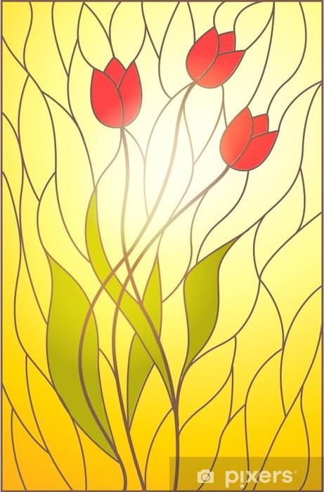 Raamsticker Glas in lood met bloemenmotief -