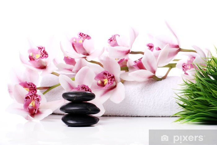 Papier peint vinyle Spa pierres et belle orchidée - Beauté et soins du corps