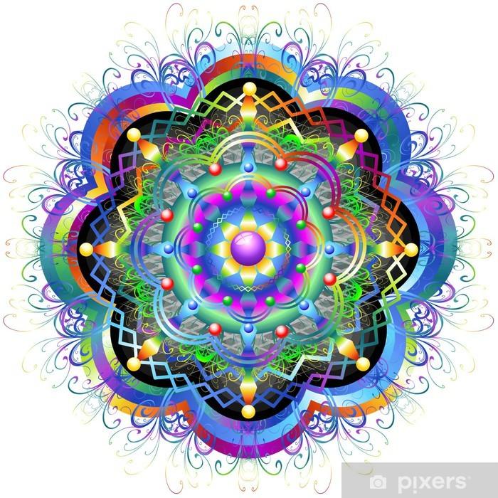 Fototapeta winylowa Psychedelic Flower Mandala Mandala Rainbow Flower-Vector- - Znaki i symbole
