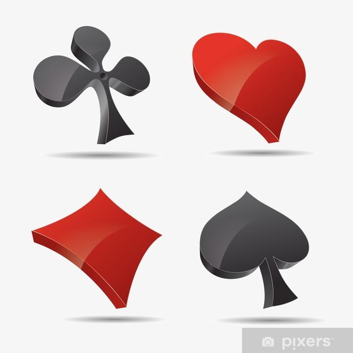 Vinyl Fotobehang Ico ass Kreut Karo pik poker mau-mau karten spiel casino herz 3d - Amusement
