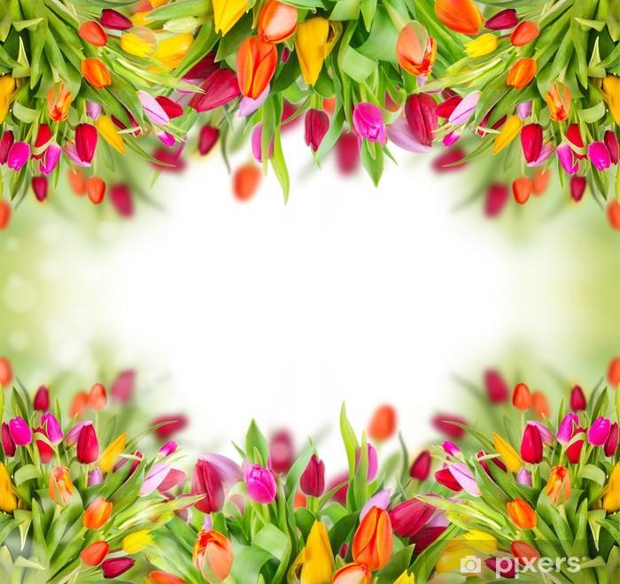 Naklejka Pixerstick Tulipany tle z wolnego miejsca na tekst - Kwiaty