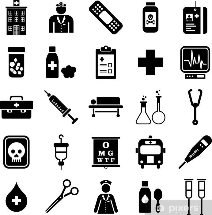 Naklejka Pixerstick Szpital i zestaw ikon medycznych - Zdrowie i medycyna