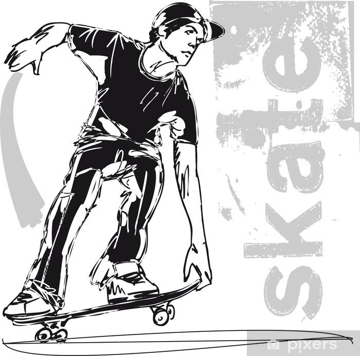 Sketch of Skateboard boy. Vector illustration Pixerstick Sticker - Skateboarding