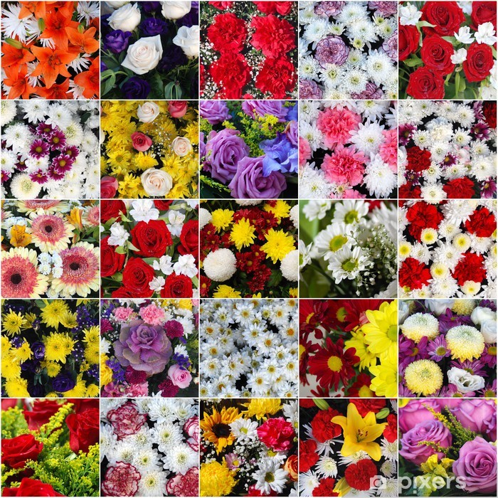 Mosaico De Ramo De Flores Coloridas Hermosas Varias Wall Mural