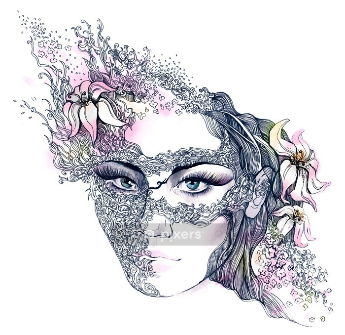 floral decorated face Wall Decal -