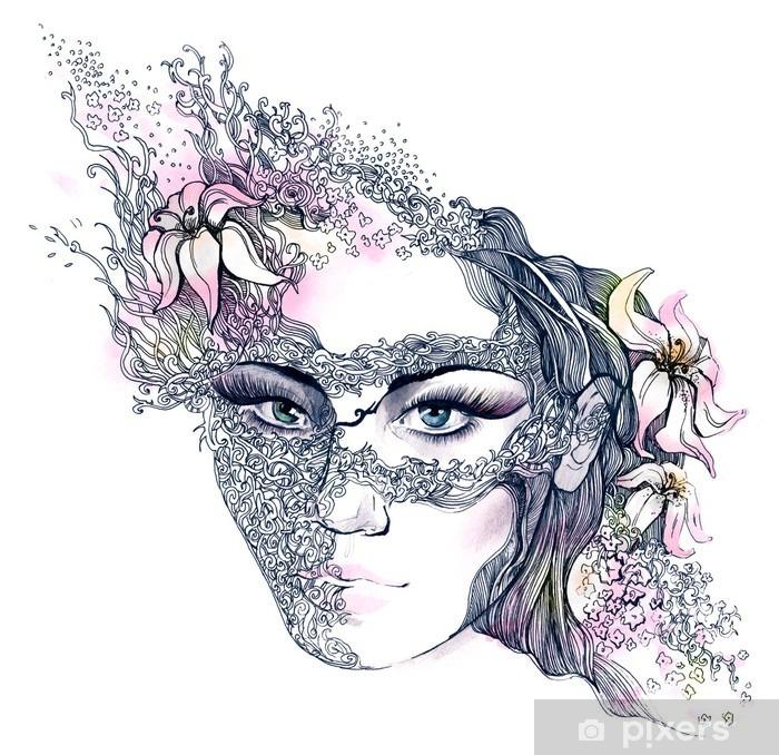 Floral dekoreret ansigt Vaskbare fototapet -