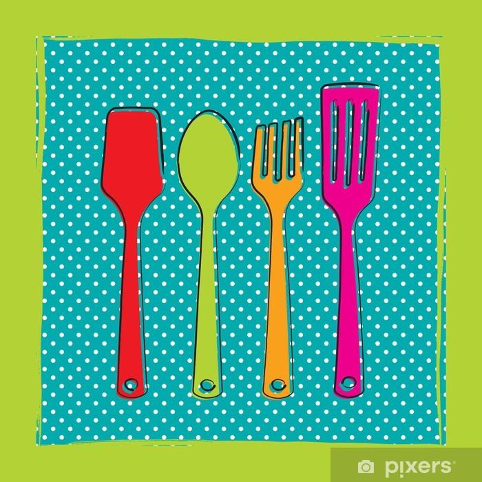Fotomural dibujo de utensilios de cocina de pl stico sobre un fondo de lunares pixers - Fotomural para cocina ...