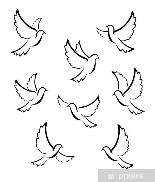 Sticker Pixerstick Symbole de Dove - Oiseaux