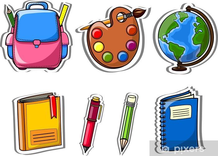 Fotomural Bolsas Cartoon escolares, lápices, libros, bloc de notas ...