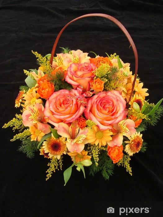 Naklejka Pixerstick Pomarańczowy kosz z różami i alstroemeria - Świętowanie