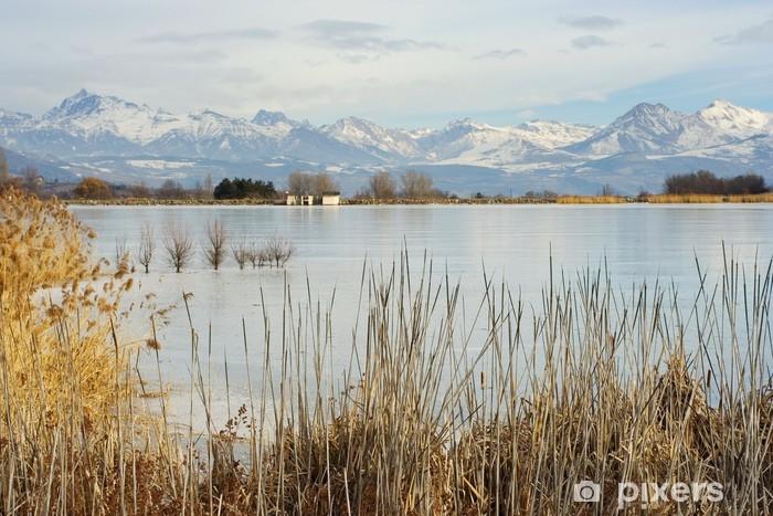 Pixerstick Sticker Lac de Pelleautier Gelé, Hautes-Alpes, Frankrijk - Buitensport