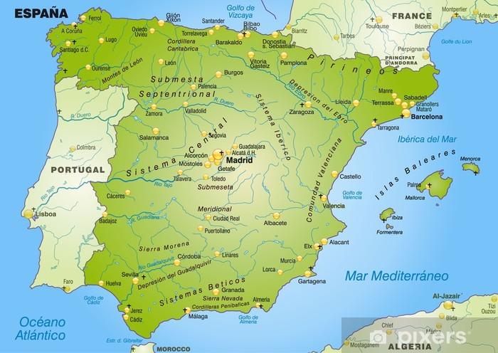 Landkarte von Spanien mit Hauptstädten Vinyl Wall Mural - Themes