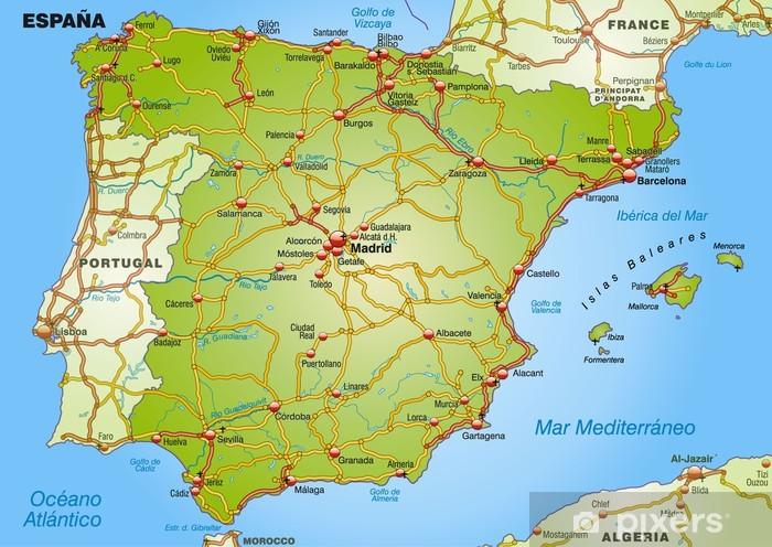 Landkarte Von Spanien Mit Autobahnen Und Hauptstadten Wall Mural