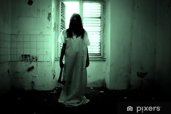 Papier peint vinyle Scène d'horreur effrayant d'une femme - Thèmes