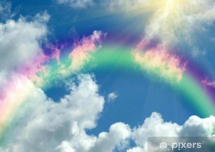 Vinilo Pixerstick Arco iris en las nubes y en el cielo azul - Arcos iris