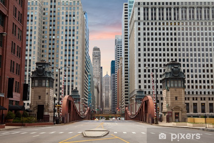 Street of Chicago. Pixerstick Sticker - Themes