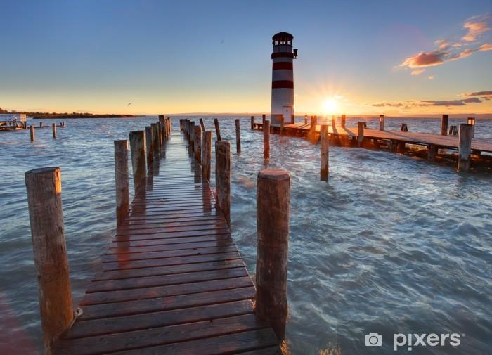 Pixerstick Sticker Vuurtoren bij Meer Neusiedl bij zonsondergang - Vuurtoren